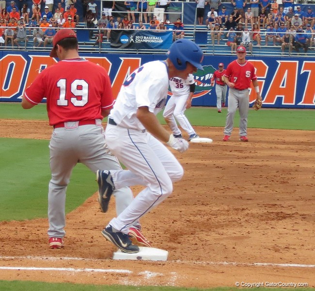 Florida's Justin Shafer is punched out at first in the Gators' game against North Carolina State in Game 1 of the Gainesville Super Regional in McKethan Stadium on June 9, 2012.