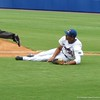 Florida first baseman Vickash Ramjit made a diving stop and throw from his back for the out in the Gators' game against North Carolina State in Game 1 of the Gainesville Super Regional in McKethan Stadium on June 9, 2012.