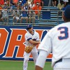 Florida shortstop Nolan Fontana throws to first in the Gators' game against North Carolina State in Game 1 of the Gainesville Super Regional in McKethan Stadium on June 9, 2012.