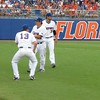 Florida reserves stretching between innings during the Gators' game against North Carolina State in Game 1 of the Gainesville Super Regional in McKethan Stadium on June 9, 2012.