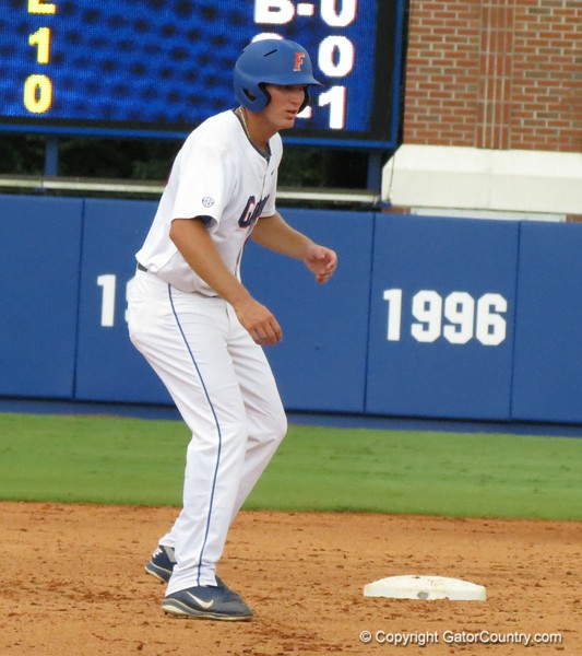 Florida's Justin Shafer gets a leadoff off of second base during the Gators' game against North Carolina State in Game 1 of the Gainesville Super Regional in McKethan Stadium on June 9, 2012.