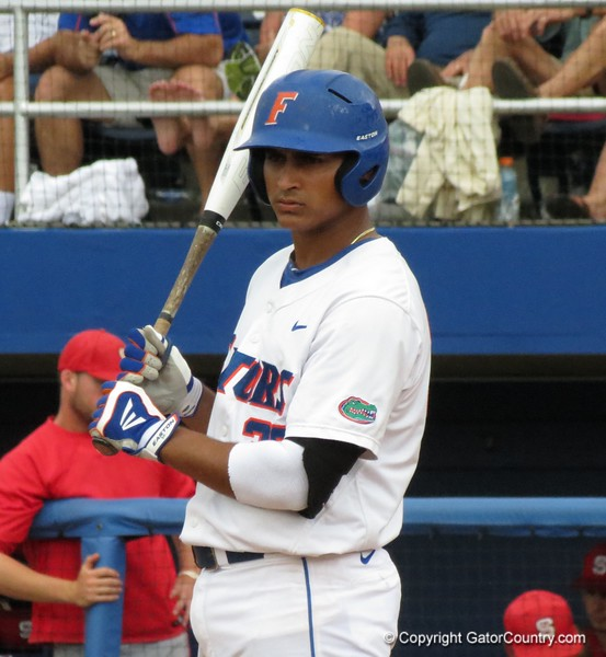 Florida senior Vickash Ramjit gets the sign during the Gators' game against North Carolina State in Game 1 of the Gainesville Super Regional in McKethan Stadium on June 9, 2012.