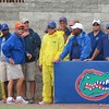 The ground crew at McKethan Stadium gets ready to roll out the tarp before the first of two rain delays during the Gators' game against North Carolina State in Game 1 of the Gainesville Super Regional in McKethan Stadium on June 9, 2012.