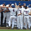 Players celebrate during the Gators' game against North Carolina State in Game 1 of the Gainesville Super Regional in McKethan Stadium on June 9, 2012.