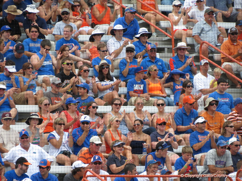 Fans cheer during the Gators' game against North Carolina State in Game 1 of the Gainesville Super Regional in McKethan Stadium on June 9, 2012.
