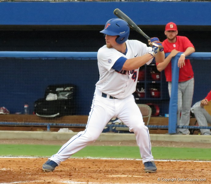 Florida's Nolan Fontana in the Gators' game against North Carolina State in Game 1 of the Gainesville Super Regional in McKethan Stadium on June 9, 2012.