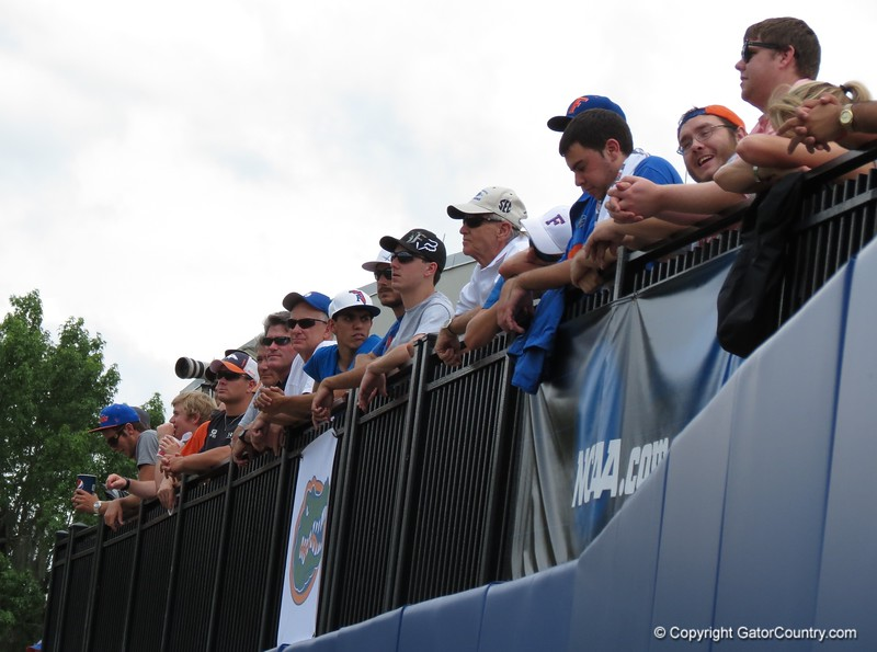 Fans along the right field rail at the Gators' game against North Carolina State in Game 1 of the Gainesville Super Regional in McKethan Stadium on June 9, 2012.