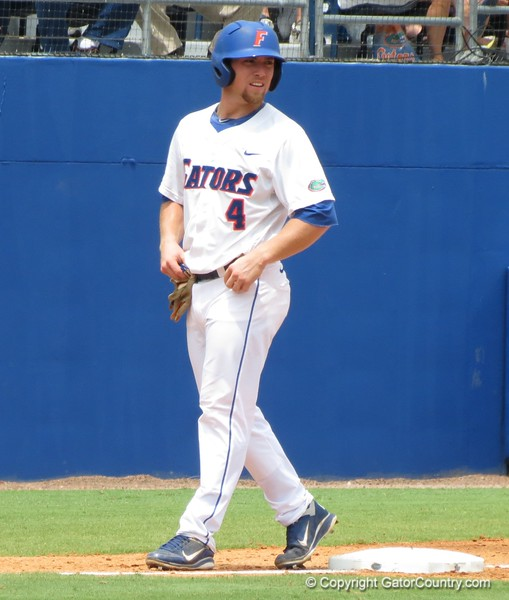Florida's Nolan Fontana gets a lead off of third base during the Gators' game against North Carolina State in Game 1 of the Gainesville Super Regional in McKethan Stadium on June 9, 2012.