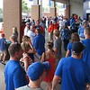 Fans find shelter from the rain during the Gators' game against North Carolina State in Game 1 of the Gainesville Super Regional in McKethan Stadium on June 9, 2012.