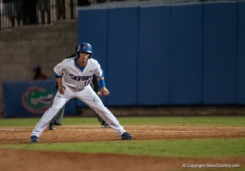 Florida senior Tyler Thompson at 1st base during the Gators' 9-2 win against the FSU Seminoles on Tuesday, March 13, 2012 at the McKethan Stadium in Gainesville, Fla. / Gator Country photo by Saj Guevara