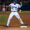 Florida freshman Taylor Gushue at 1st base drops his mitt during the Gators' 9-2 win against the FSU Seminoles on Tuesday, March 13, 2012 at the McKethan Stadium in Gainesville, Fla. / Gator Country photo by Saj Guevara