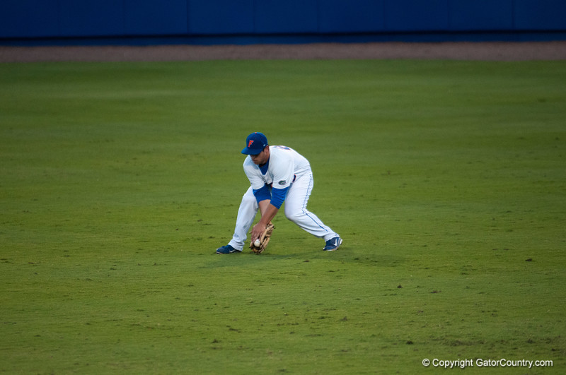 Florida senior Preston Tucker catches an rbi during the Gators' 9-2 win against the FSU Seminoles on Tuesday, March 13, 2012 at the McKethan Stadium in Gainesville, Fla. / Gator Country photo by Saj Guevara