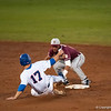 Florida freshman Taylor Gushue tries to steal 2nd base base during the Gators' 9-2 win against the FSU Seminoles on Tuesday, March 13, 2012 at the McKethan Stadium in Gainesville, Fla. / Gator Country photo by Saj Guevara
