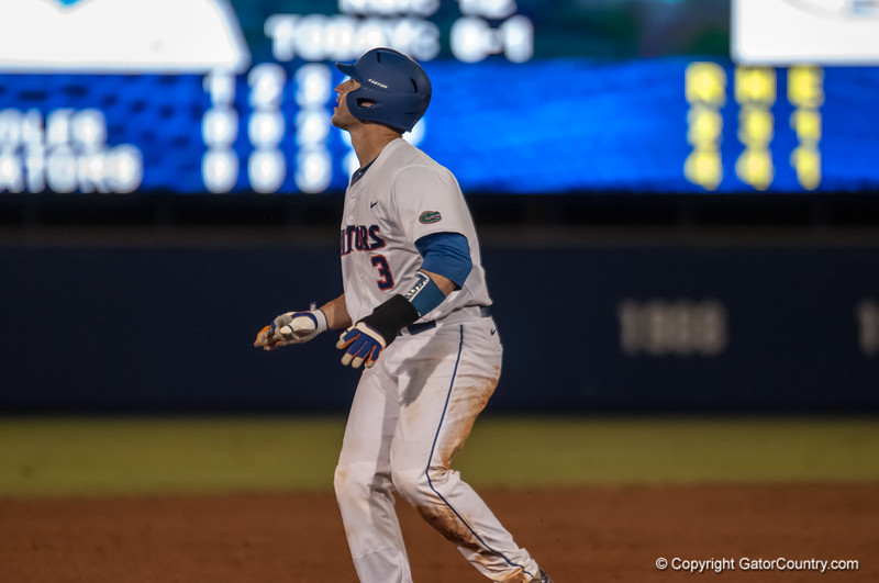 Florida junior catcher Mike Zunino anticipates an out during the Gators' 9-2 win against the FSU Seminoles on Tuesday, March 13, 2012 at the McKethan Stadium in Gainesville, Fla. / Gator Country photo by Saj Guevara