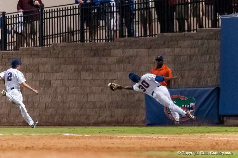 Florida junior Vickash Ramjit tries to catch a foul ball during the Gators' 9-2 win against the FSU Seminoles on Tuesday, March 13, 2012 at the McKethan Stadium in Gainesville, Fla. / Gator Country photo by Saj Guevara