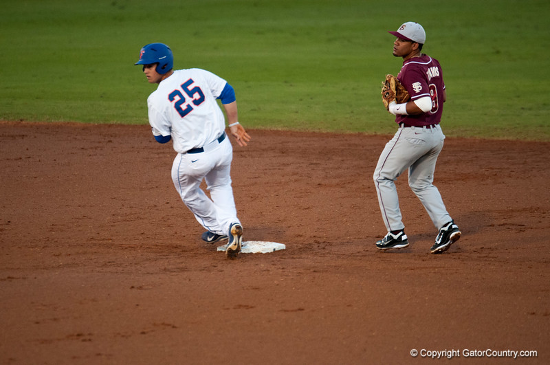 Florida senior Preston Tucker runs to 2nd base during the Gators' 9-2 win against the FSU Seminoles on Tuesday, March 13, 2012 at the McKethan Stadium in Gainesville, Fla. / Gator Country photo by Saj Guevara