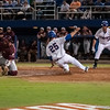 Florida senior Preston Tucker slides to home plate during the Gators' 9-2 win against the FSU Seminoles on Tuesday, March 13, 2012 at the McKethan Stadium in Gainesville, Fla. / Gator Country photo by Saj Guevara