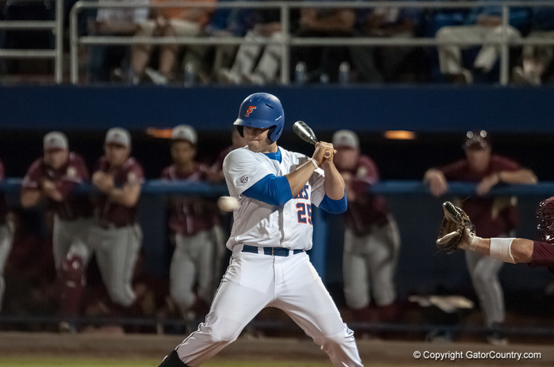 Florida senior Preston Tucker almost hit by a pitch during the Gators' 9-2 win against the FSU Seminoles on Tuesday, March 13, 2012 at the McKethan Stadium in Gainesville, Fla. / Gator Country photo by Saj Guevara
