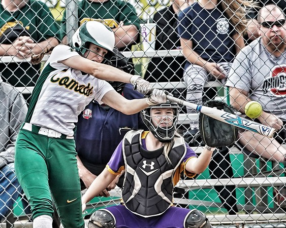 Amherst freshman Cassidy Kettleman with the leadoff double against Avon Tuesday April 16.  photo Joe Colon