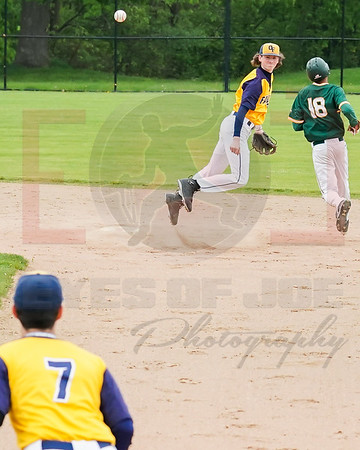 Olmsted Falls Adam Yako completes the double play to Alex Jarvis, Amherst TJ Stanton forced out at second  Tueday May 21.  photo Joe Colon