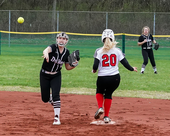Wellington Maile Oswald looks to turn the double play after getting Brookside Hanna Begany out at second Wednesday April 17.  photo Joe Colon