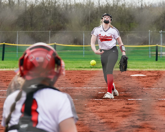 Brookside Leah Musall delivers a pitch against Wellington Wednesday April 17, Catcher for Brookside Ashlee Aliff.  photo Joe Colon
