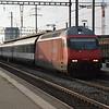 460039-1 'Rochers de Nave' heads a passenger service E towards Frick. Pratteln 10/10/16