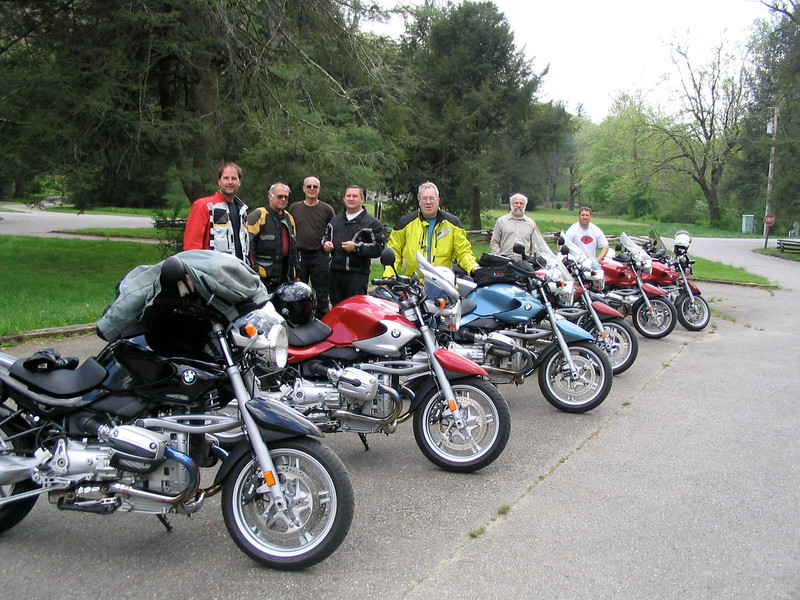 From Bash I - 2004. CTRider, in the yellow 'Stich, led our ride at the 2017 Bash on Saturday on the same blue R1150R! Jeff in the back was there but on a different R (there was a wreck involved!) and that's my black R in the front, on which I attended 11 Bashes. My 12th was this year but on a different brand and bike.
