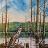 Wayne Spradley was commissioned to paint this scene of bluebirds on Huckleberry Pond. Spradley's idea for the oil painting grew from a flyfishing experience more than 15 years ago at the pond.