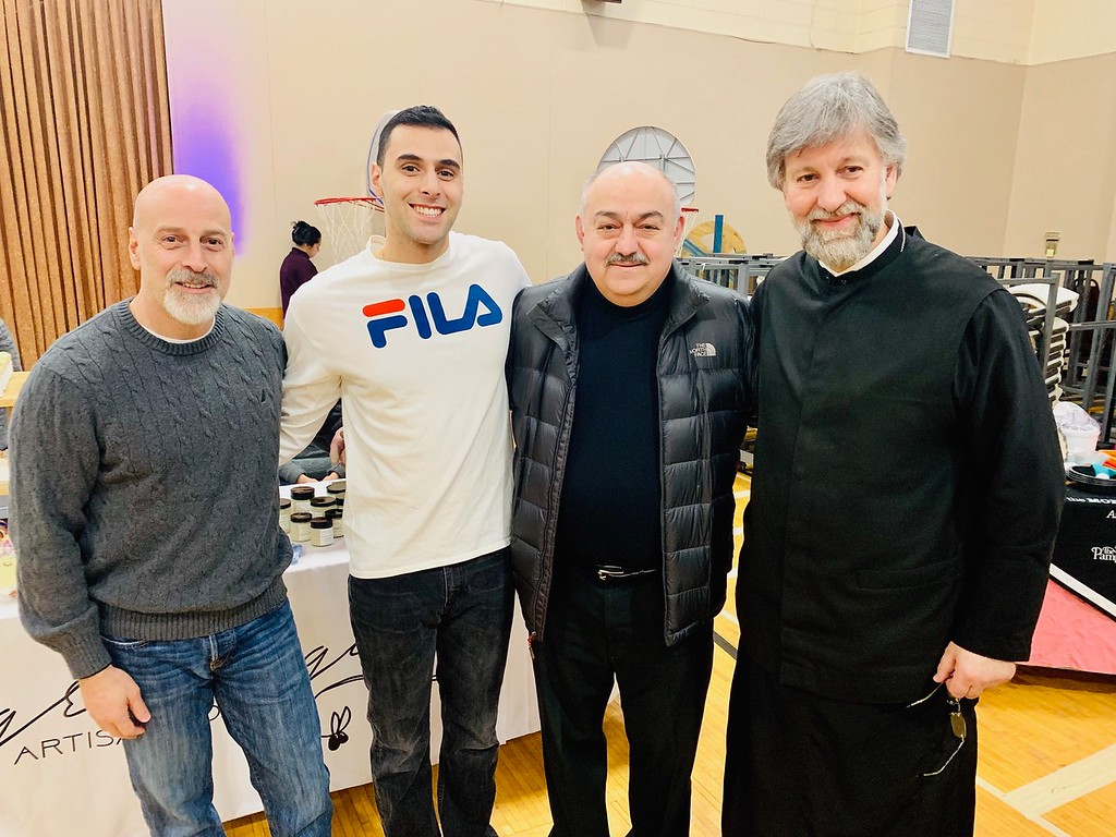 . From left, Andre and Nicholas Khourg of Pelham, Charlie Hondros of Tewksbury, and the Rev. Nicholas Pelekoudas of Holy Trinity Church of Lowell