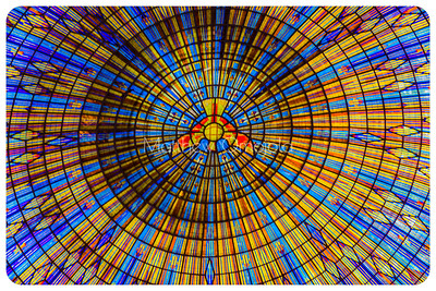 Close up inside of the Dome of the Basilica of Our Lady of Peace Ivory Coast, Cote d'Ivoire with image of a dove at the center