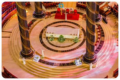 Close up of the high altar Basilica of Our Lady of Peace (Basilique Notre Dame de la Paix)  Yamoussoukro Ivory Coast. Côte d'Ivoire.