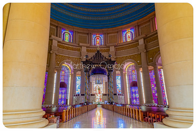 Aisle to the high altar and pews, stain glass windows of the Basilica of Our Lady of Peace Yamoussoukro Ivory Coast Cote d'Ivoire.