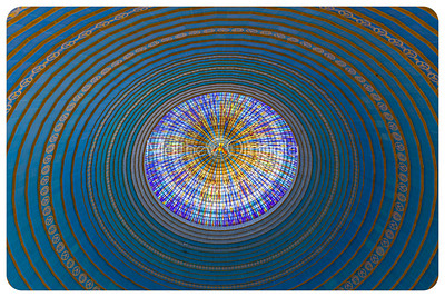 Looking up inside the Dome of the Basilica of Our Lady of Peace Yamoussoukro Ivory Coast Cote d'Ivoire  with image of a dove at the center.