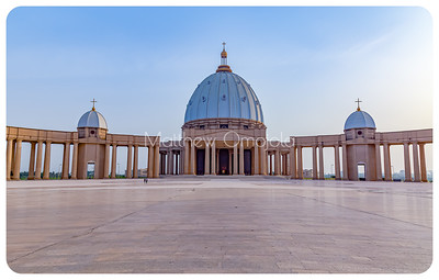 Front facade with major and minor domes  of the Basilica of Our Lady of Peace (Basilique Notre Dame de la Paix), Yamoussoukro, Ivory Coast, Côte d'Ivoire.