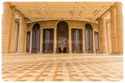 Columns and large windows and doors of the Basilica of Our Lady of Peace (Basilique Notre Dame de la Paix), Yamoussoukro Ivory Coast, Côte d'Ivoire.