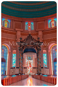 Close up of the Canopy over the high altar, aisle, roof and walls of the Basilica of Our Lady of Peace (Basilique Notre Dame de la Paix)  Cote d'Ivoire Ivory Coast.