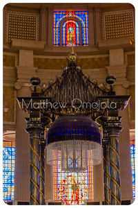 Close up of the Canopy and chandelier over the high altar, stain glass windows of the Basilica of Our Lady of Peace Yamoussoukro Ivory Coast, Cote d'Ivoire.