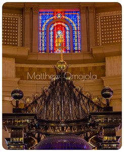 Golden cross over the high altar canopy of the Basilica of Our Lady of Peace Yamoussoukro Ivory Coast, Côte d'Ivoire.