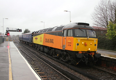 47739 Basingstoke 26/01/14 4Z47 Eastleigh to Ashford with barriers for a 395 move to Ashfordby