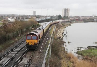 66007 Redbrige Causeway 28/12/12 1Z63 Southampton Eastern Docks to Fawley