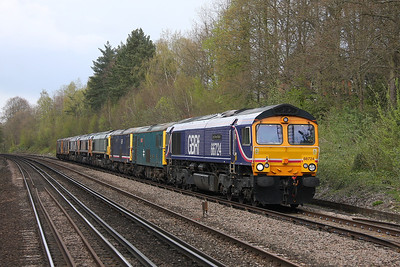 66724 Shawford 21/04/12 0X19 Tonbridge to Eastleigh with 73208, 73141, 66739, 66710, 66723, 73213 and 73206