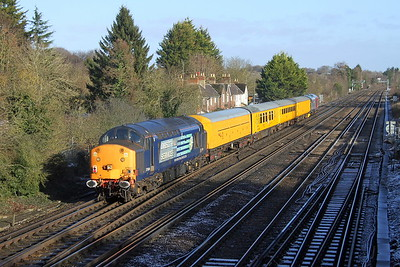 37604 Worting Junction 13/01/17 on the rear of 3Z01 Eastleigh to Derby RTC led by 37608