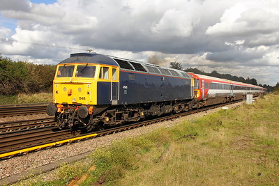 47848 Worting Junction 22/09/17 5O86 Ely Papworth Sidings to Bournemouth with 2403 and 2420 (The sun came out momentarily for this one as every previous train had been covered by cloud)