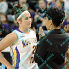 Northern Iowa coach Tanya Warren talks to Katelin Oney (2) when Katelin came off the court after a substitution during the first half of the sectional MVC tournament game against Wichita State.  At halftime Iowa was leading Wichita 27-23.