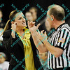 Wichita State coach Jody Adams expresses her displeasure to an official over a foul called in the first half of the sectional MVC tournament game.