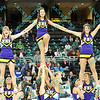 The Northern Iowa cheerleaders perform during an early time out in the first half of the semifinal MVC tournament game against Wichita State.