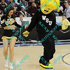 The Wichita State Shockers mascot and a cheerleader do a dance during a time out in the first half of the sectional MVC tournament game against Northern Iowa.