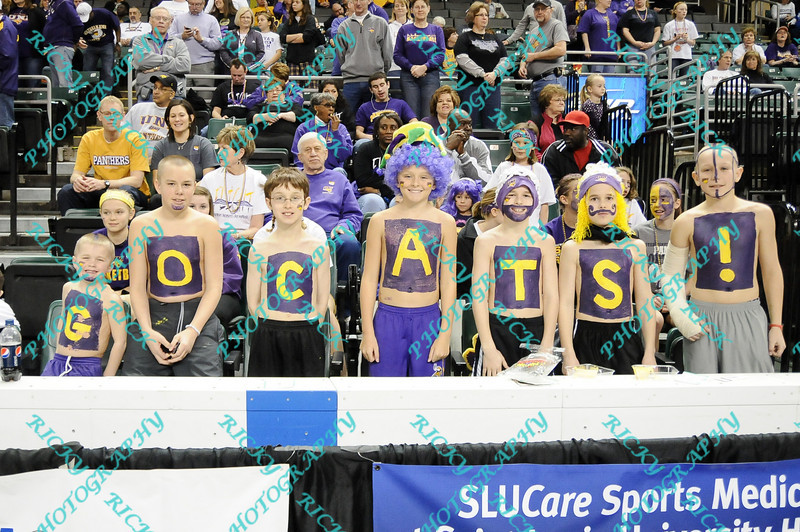 Young N. Iowa fans show their support for the team before the start of the semifinal MVC tournament game against Wichita State.