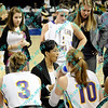 Northern Iowa coach Tanya Warren gives her team instructions during a media time out in the first half of the sectional MVC tournament game  against Wichita State.  At halftime Iowa was leading Wichita 27-23.